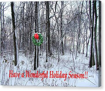 Tyra's Woods At Christmas Canvas Print by Julie Dant