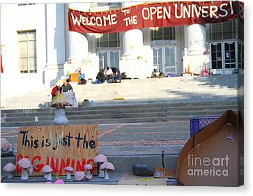 Uc Berkeley . Sproul Hall . Sproul Plaza . Occupy Uc Berkeley . The Is Just The Beginning . 7d10018 Canvas Print by Wingsdomain Art and Photography