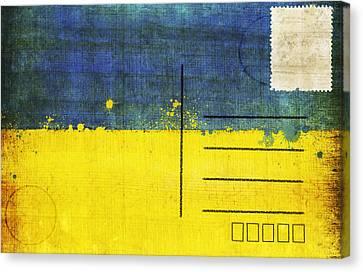 Ukraine Flag Postcard Canvas Print by Setsiri Silapasuwanchai