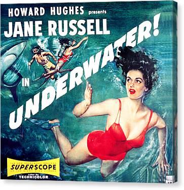 Underwater, Jane Russell, 1955 Canvas Print by Everett