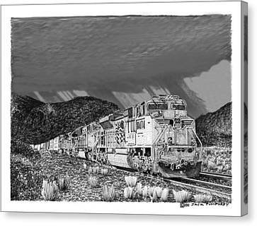 Union Pacific Diesels And Monsoon Canvas Print by Jack Pumphrey