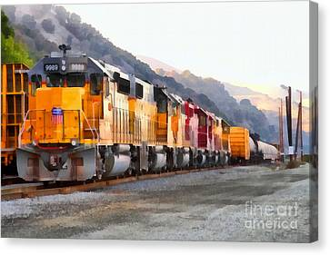 Union Pacific Locomotives Along The Hills Of Martinez California . 7d10563 Canvas Print by Wingsdomain Art and Photography
