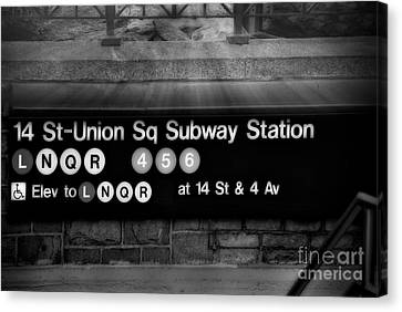 Union Square Subway Station Bw Canvas Print by Susan Candelario