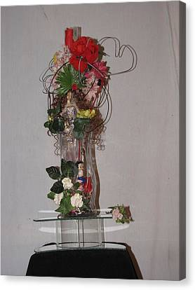 Unique Glass Floral Art Piece Canvas Print by HollyWood Creation By linda zanini