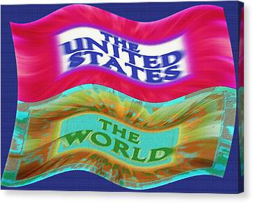 United States - The World - Flag Unfurled Canvas Print by Steve Ohlsen