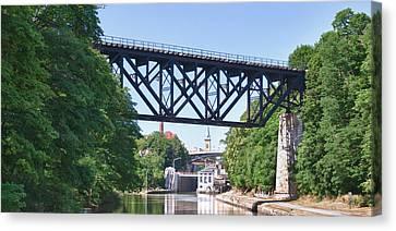 Upside-down Railroad Bridge Canvas Print by Guy Whiteley