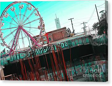 Urban Ferris Wheel With Tinted Sky Canvas Print by Christy Borgman