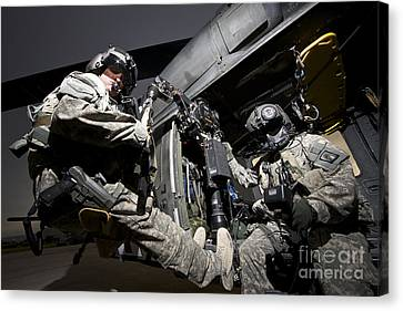 U.s. Air Force Crew Strapped Canvas Print by Terry Moore
