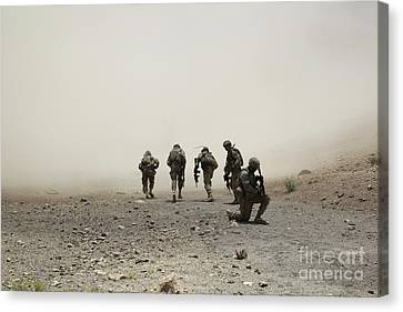 U.s. Army Captain Provides Security Canvas Print by Stocktrek Images