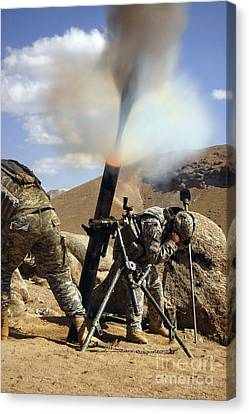 U.s. Army Soldiers Firing A 120mm Canvas Print by Stocktrek Images