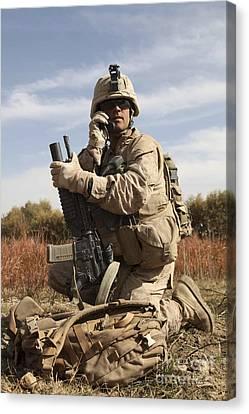 U.s. Marine Communicates Canvas Print by Stocktrek Images