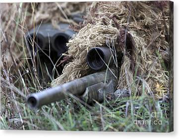 U.s. Marines Practice Stalking Canvas Print by Stocktrek Images