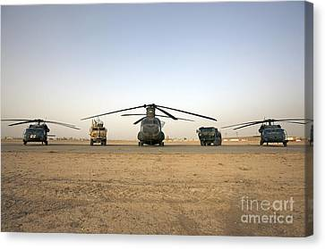 U.s. Military Vehicles And Aircraft Canvas Print by Terry Moore