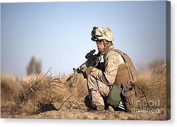 U.s. Navy Soldier Participates Canvas Print by Stocktrek Images