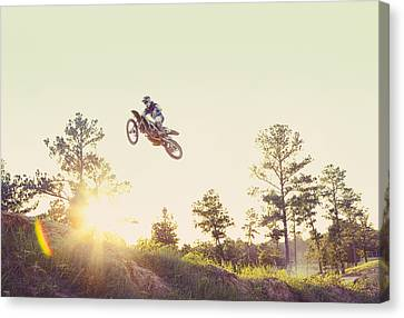 Usa, Texas, Austin, Dirt Bike Jumping Canvas Print by King Lawrence