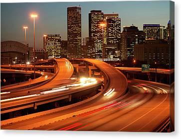 Usa, Texas, Houston City Skyline And Motorway, Dusk (long Exposure) Canvas Print by George Doyle