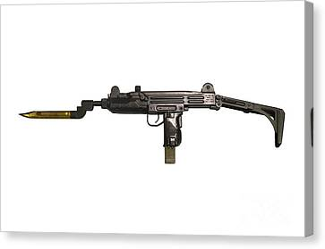 Uzi 9mm Submachine Gun With Attached Canvas Print by Andrew Chittock