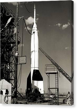 V-2 Bumper Rocket Launch In Usa Canvas Print by Detlev Van Ravenswaay
