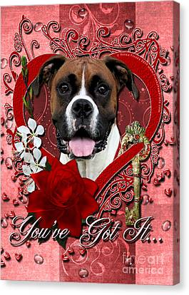 Valentines - Key To My Heart Boxer Canvas Print by Renae Laughner