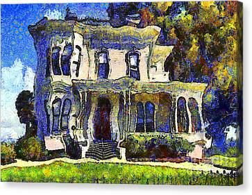 Van Gogh Visits The Old Victorian Camron-stanford House In Oakland California . 7d13440 Canvas Print by Wingsdomain Art and Photography