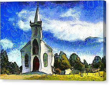 Van Gogh.s Church On The Hill 7d12437 Canvas Print by Wingsdomain Art and Photography