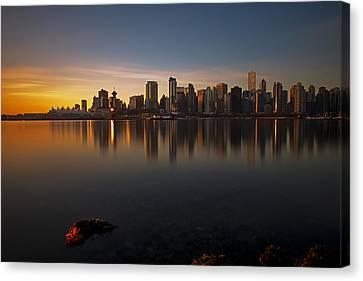 Vancouver Golden Sunrise Canvas Print by Jorge Ligason