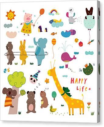 Various Animals Canvas Print by Eastnine Inc.