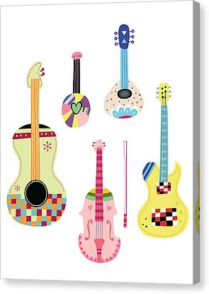 Various Kinds Of Stringed Instruments Canvas Print by Eastnine Inc.