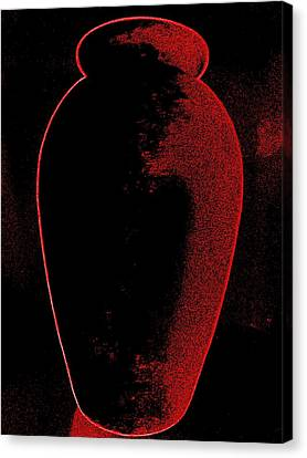 Vase On Black Canvas Print by Randall Weidner