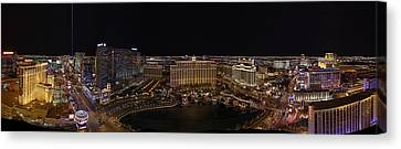 Vegas Strip From Eiffel Tower Canvas Print by Metro DC Photography