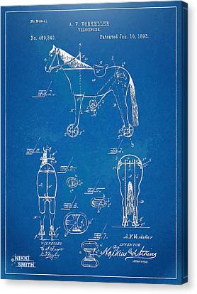 Velocipede Horse-bike Patent Artwork 1893 Canvas Print by Nikki Marie Smith