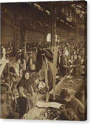 Vendors Selling Fish At A Market In New Canvas Print by Everett