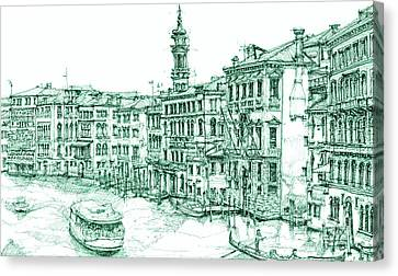 Venice Drawing In Green Canvas Print by Building  Art