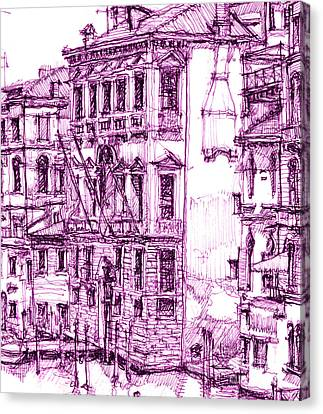 Venice Palace In Purple Canvas Print by Building  Art