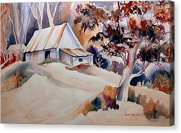 Vermont Sugar Shack Cabin In Winter Canvas Print by Carole Spandau