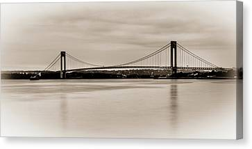 Verrazano-narrows Bridge B-w Canvas Print by David Hahn