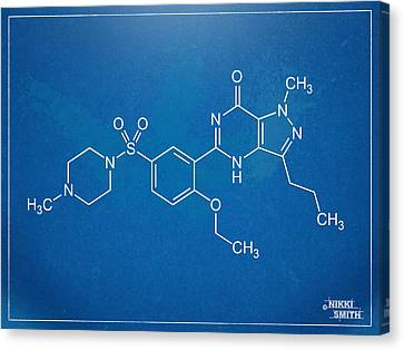 Viagra Molecular Structure Blueprint Canvas Print by Nikki Marie Smith