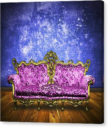 Victorian Sofa In Retro Room Canvas Print by Setsiri Silapasuwanchai