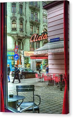 Vienna View From Coffee Shop Window Canvas Print by Juli Scalzi