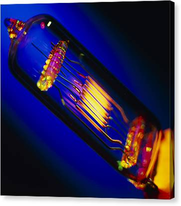 View Of A Lit Technical Electric Light Bulb Canvas Print by Tek Image
