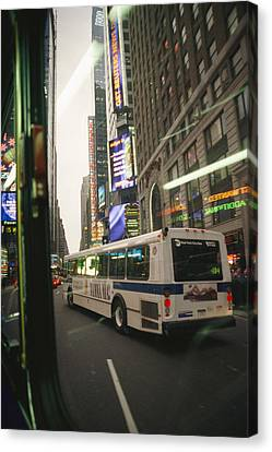 View Of A New York City Bus Canvas Print by Gina Martin