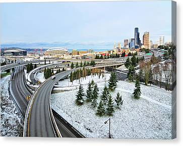 View Of City In Winter Canvas Print by Hai Huu Thanh Nguyen