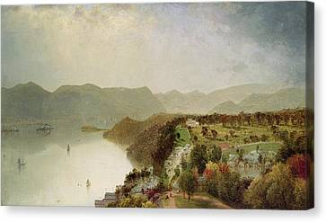 View Of Cozzen's Hotel Near West Point - Ny Canvas Print by John Frederick Kensett