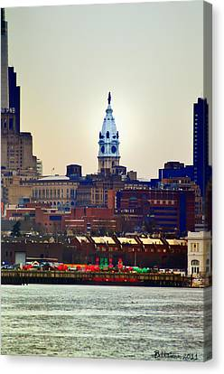 View Of Philadelphia City Hall From Camden Canvas Print by Bill Cannon
