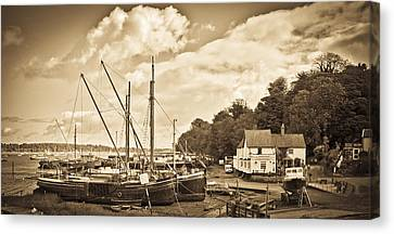 View Of Pin Mill From King's Yard Sepia Canvas Print by Gary Eason