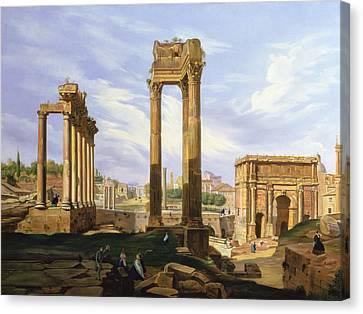 View Of The Roman Forum Canvas Print by Jodocus Sebasiaen Adeele