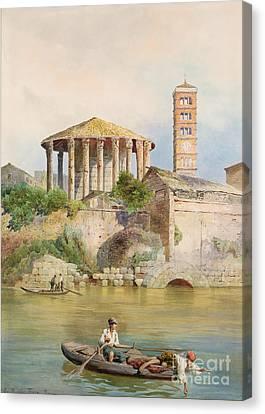View Of The Sbocco Della Cloaca Massima Rome Canvas Print by Ettore Roesler Franz