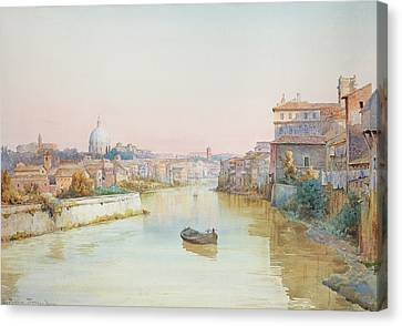 View Of The Tevere From The Ponte Sisto  Canvas Print by Ettore Roesler Franz