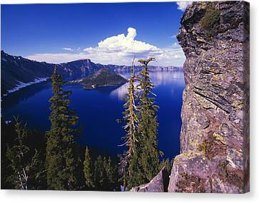 View Of Wizard Island At Crater Lake Canvas Print by Natural Selection Craig Tuttle