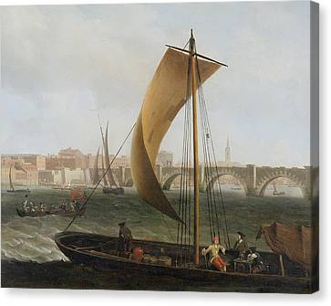 View On The Thames With Westminster Bridge Canvas Print by Samuel Scott